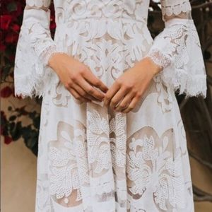 Down the Aisle High Low Bell Sleeve Dress